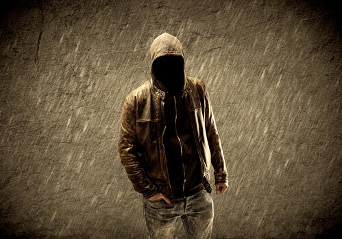 1. Google screen with ownership request 2. faceless man in rain storm wearing jacket with a hood