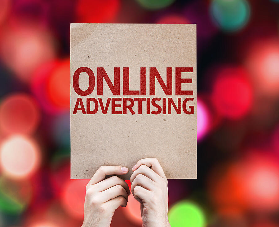 Online Advertising card with colorful background with defocused lights