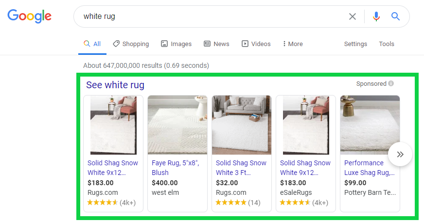 Pictures of Google Shopping Ads with Prices and Ratings