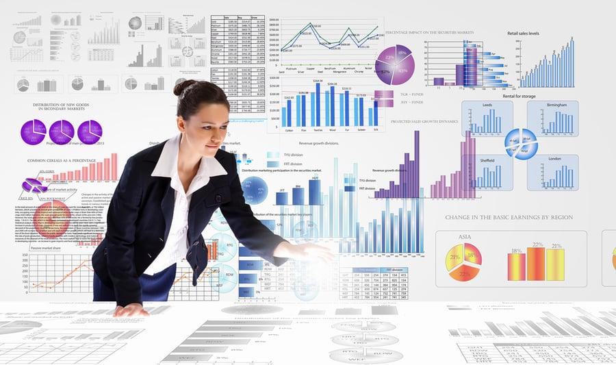woman reviewing charts