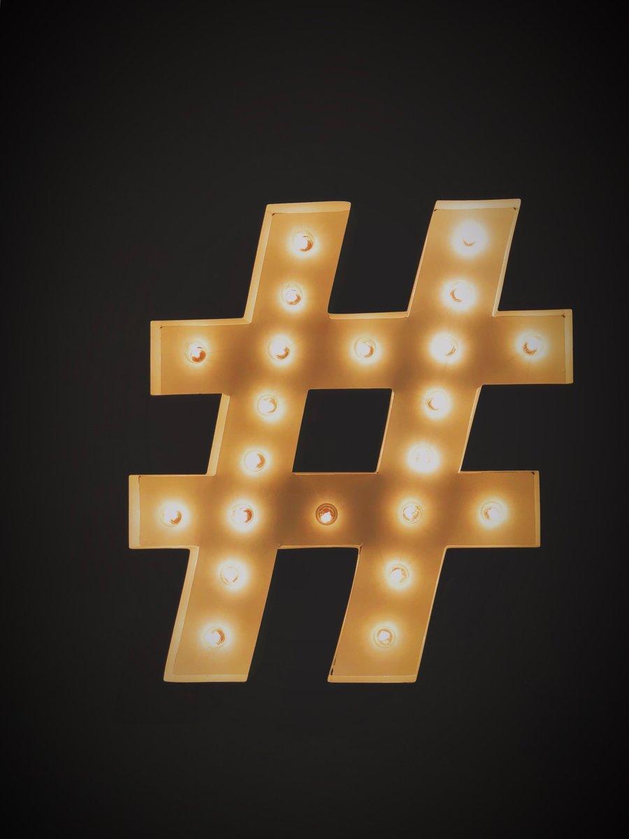 Hashtag symbol designed in lights
